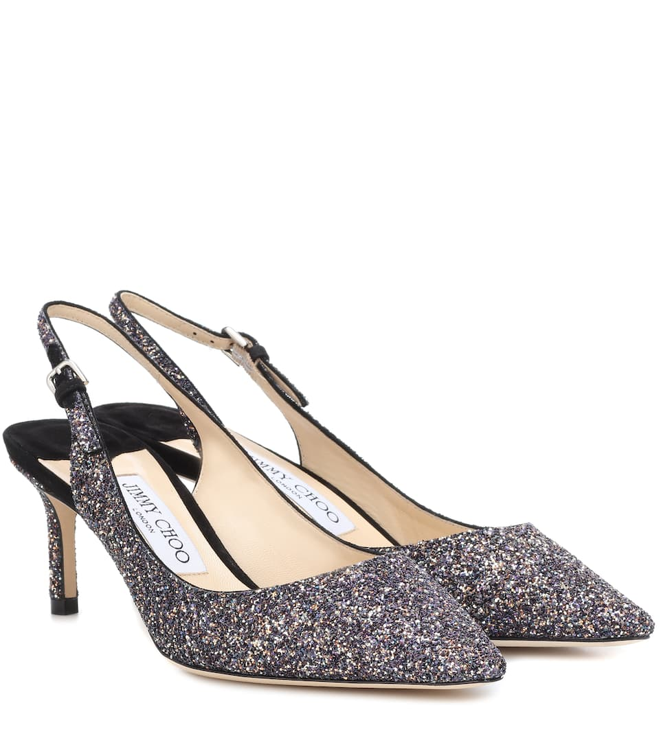 Erin 60 Twilight Glitter Fabric Slingback Pumps in Black