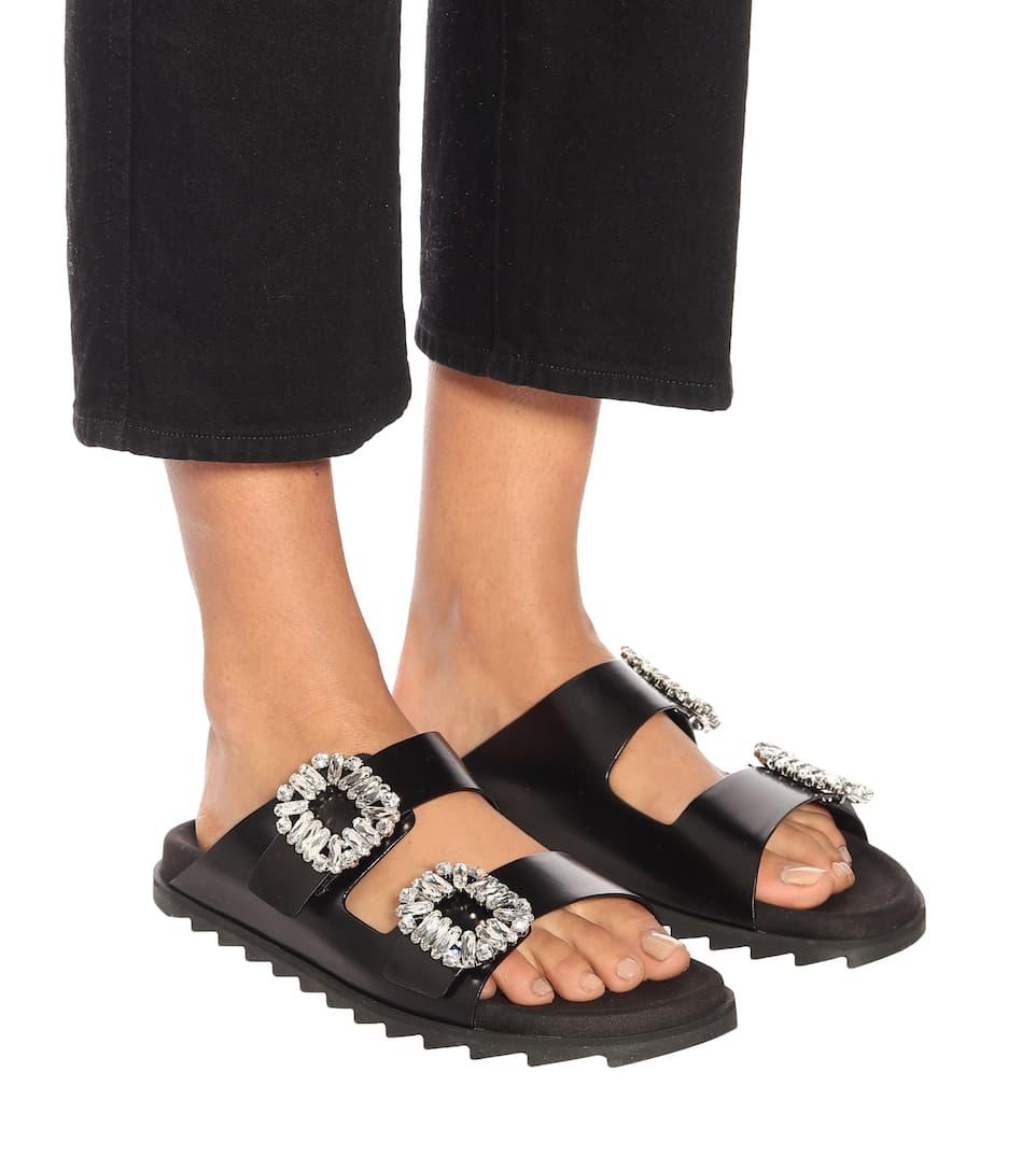 Roger Vivier Slidy Viv leather sandals OKesTiFwi