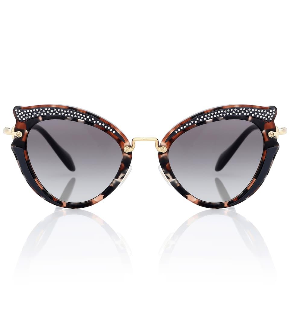 32c70d416395 Noir Embellished Cat-Eye Sunglasses - Miu Miu