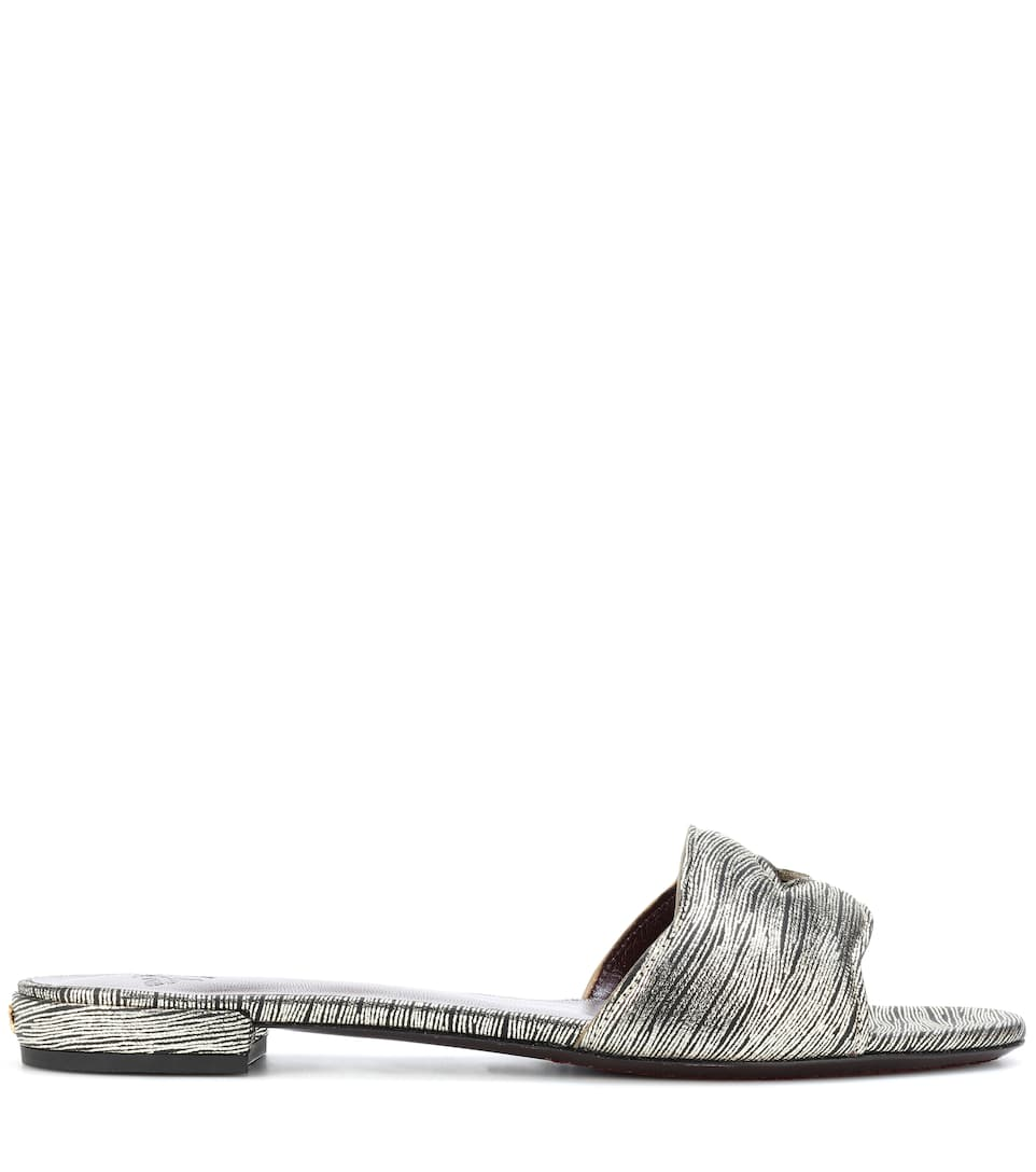 Bougeotte Slides aus Metallic-Leder