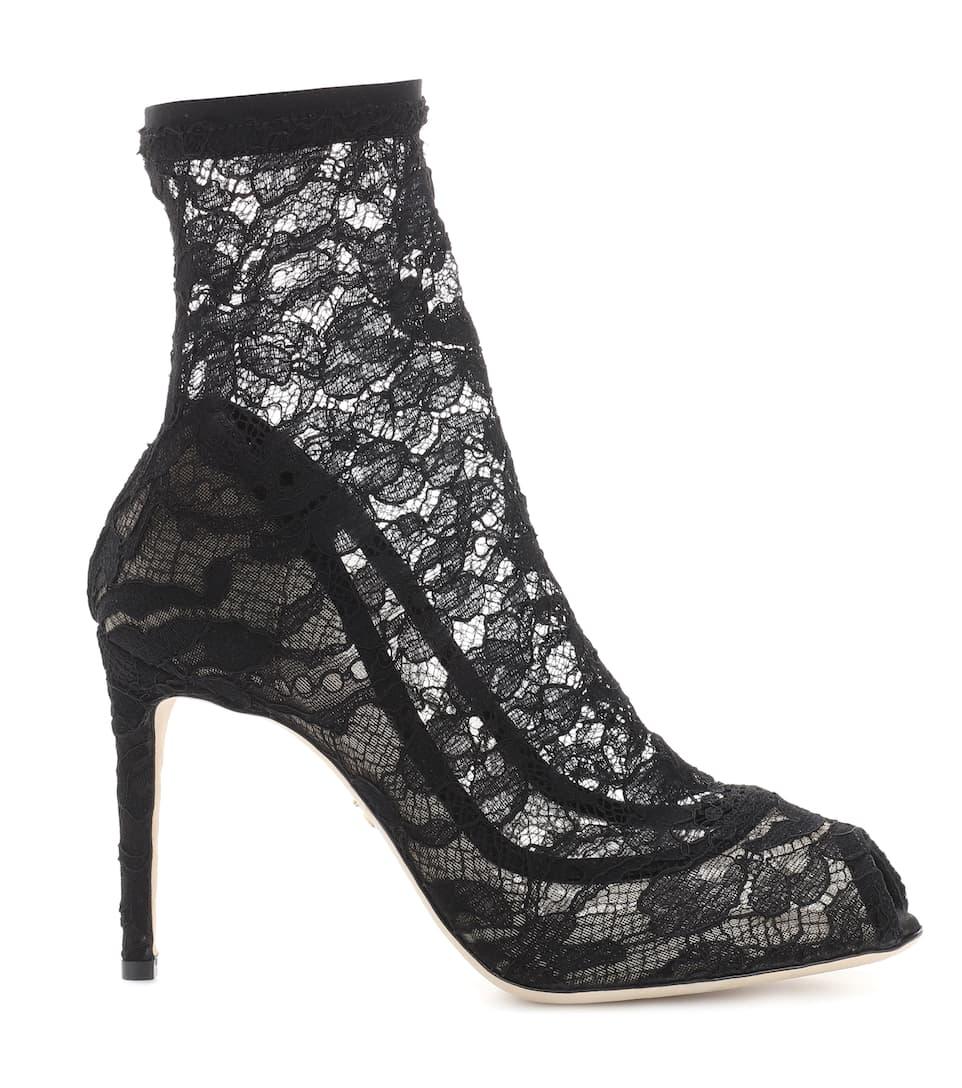 Dolce & Gabbana Peeptoe Ankle Boots aus Spitze