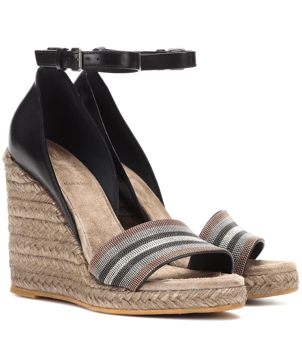Brunello Cucinelli Wedge-Sandalen aus Leder