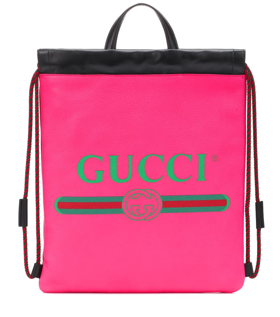 1f638982c7 Print Small Leather Backpack - Gucci