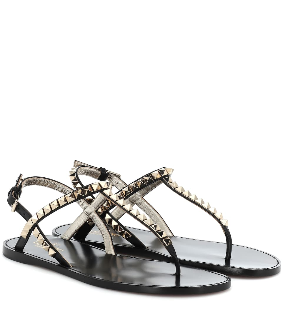 981e7ec84 Valentino - Valentino Garavani Rockstud No Limit leather sandals | Mytheresa