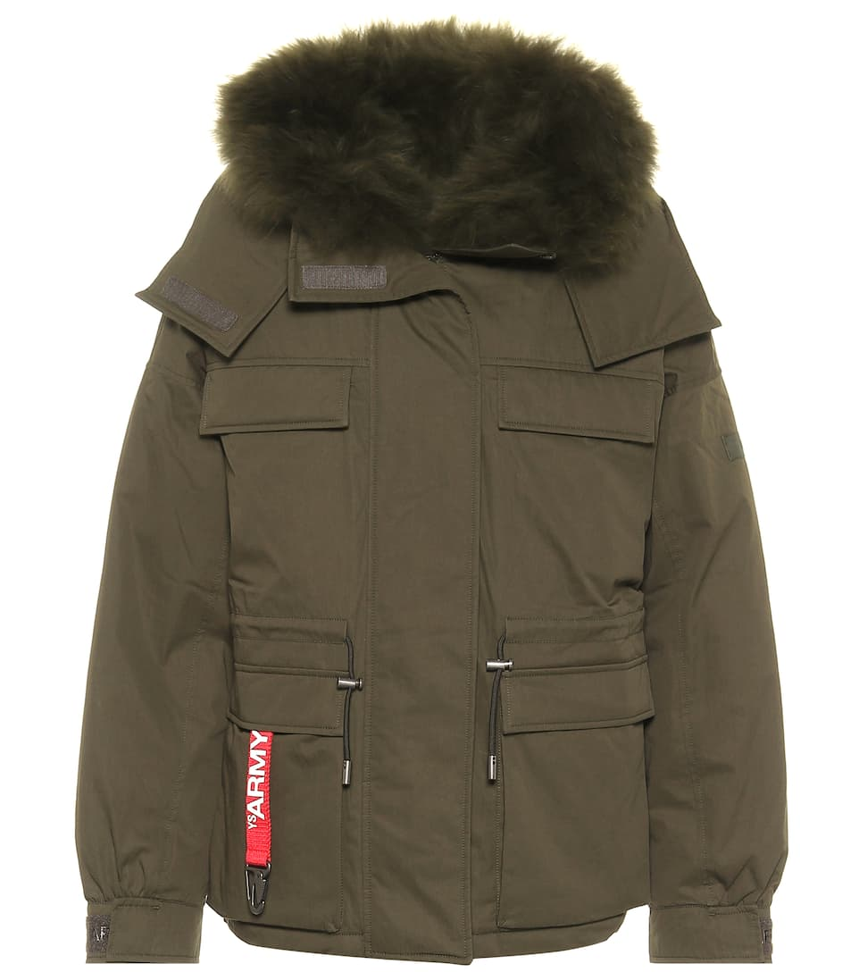 Army cotton blend down jacket