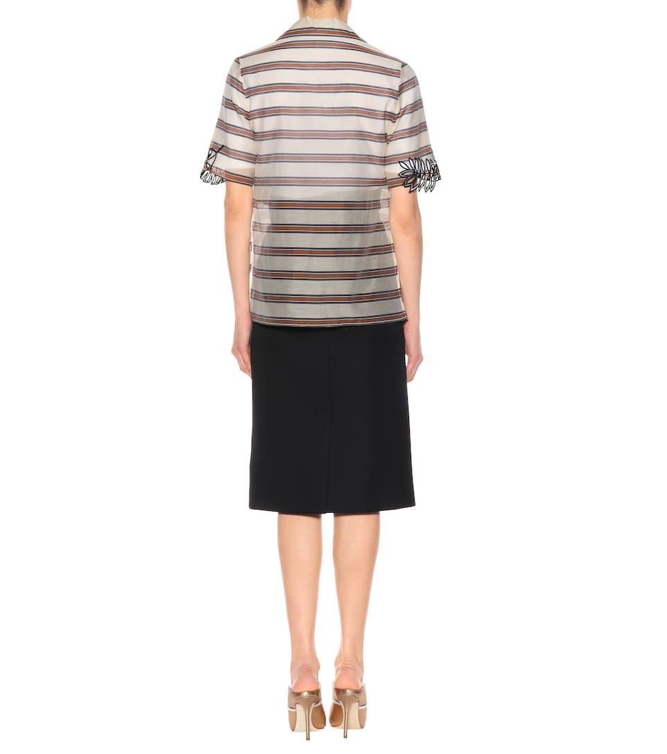 Fendi Gestreiftes Hemd aus Baumwolle und Seide