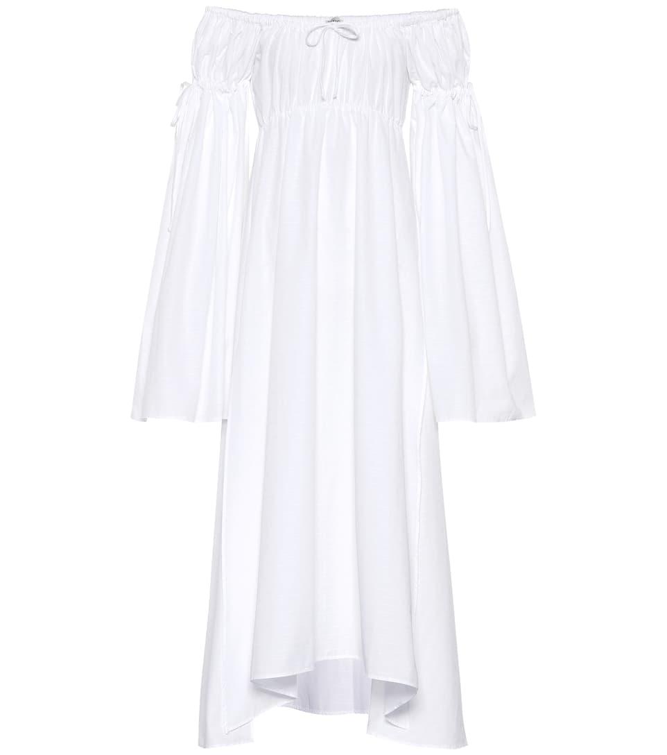 Attico - Robe en coton à encolure bardot