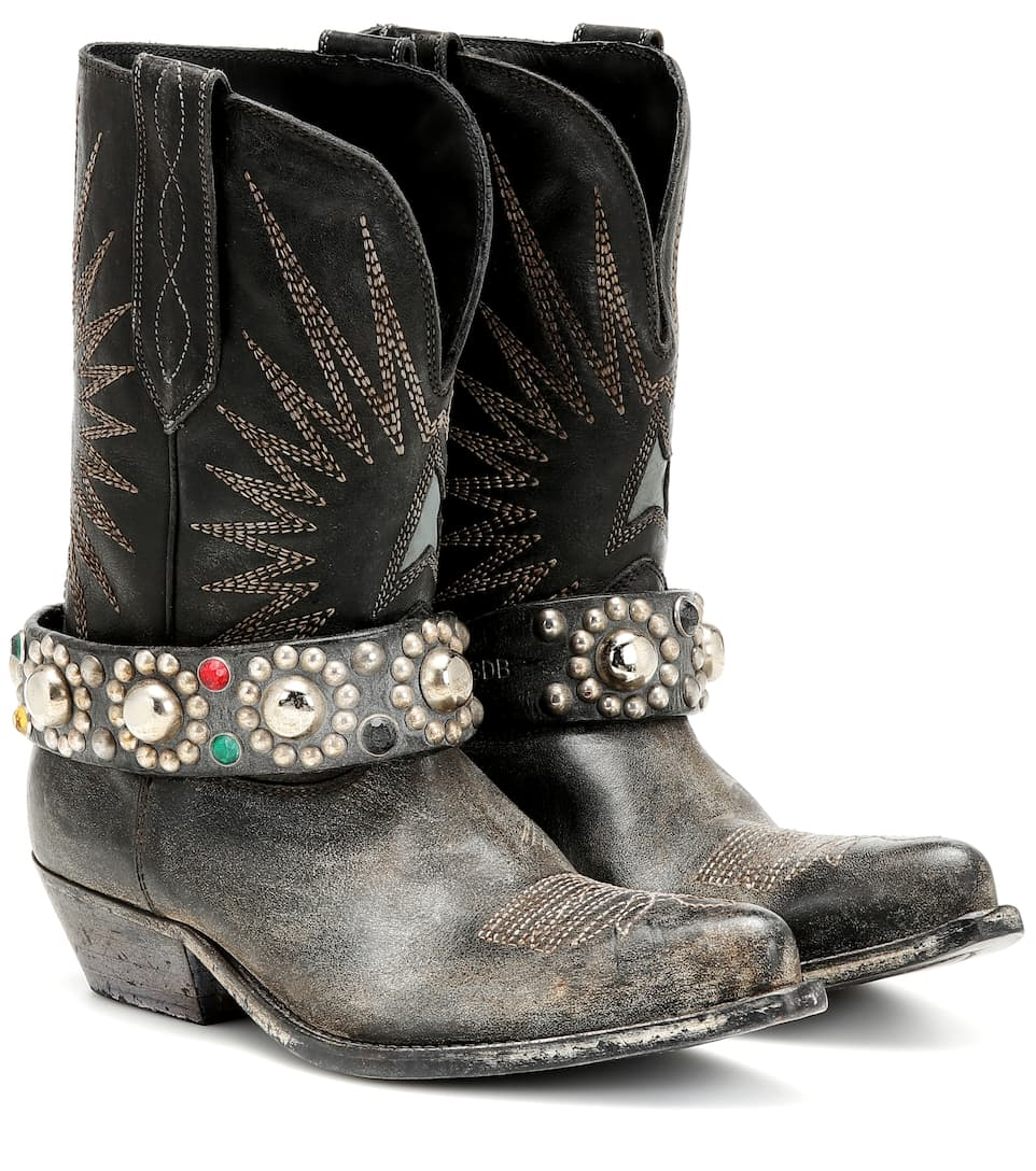 Wish Star Leather Cowboy Boots - Golden