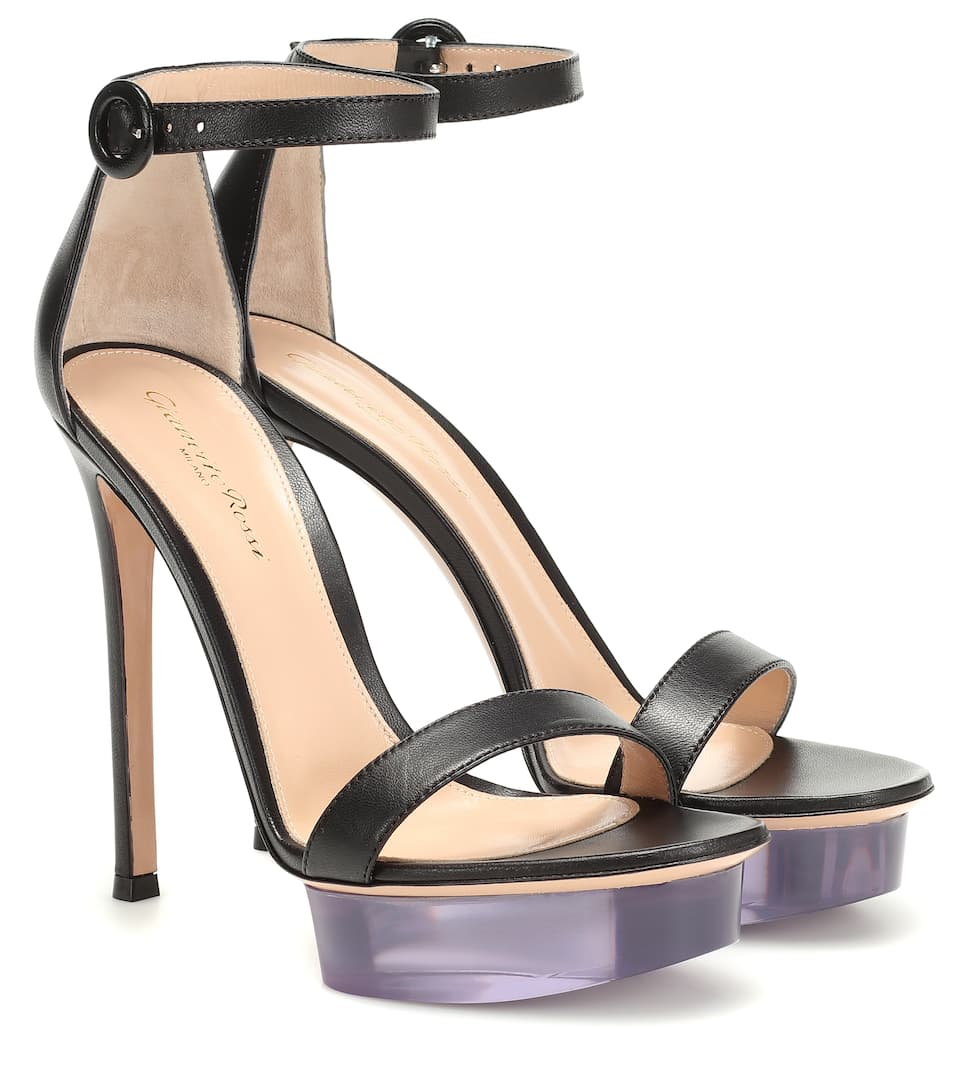 Gianvito Rossi Godiva Patent Leather Platform Sandals In Black
