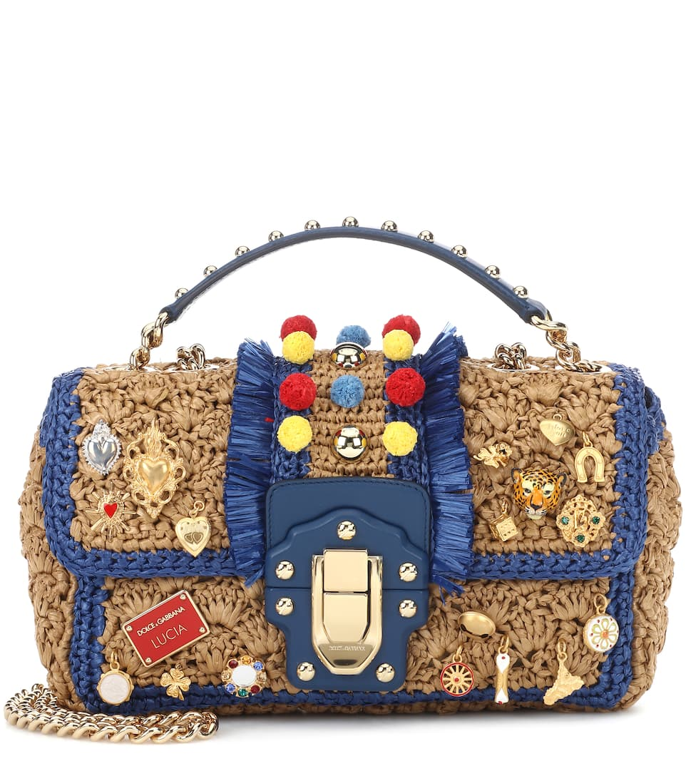 Dolce & Gabbana Verzierte Schultertasche Lucia aus Raffiabast Kaufen Sie Günstig Online Spielraum Erstaunlicher Preis Auslauf qeLHRGjZh