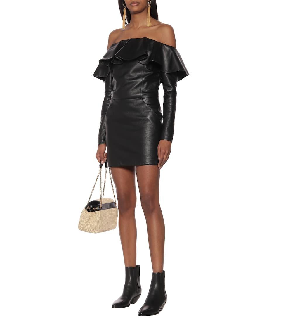 Saint Laurent - Off-the-shoulder leather minidress