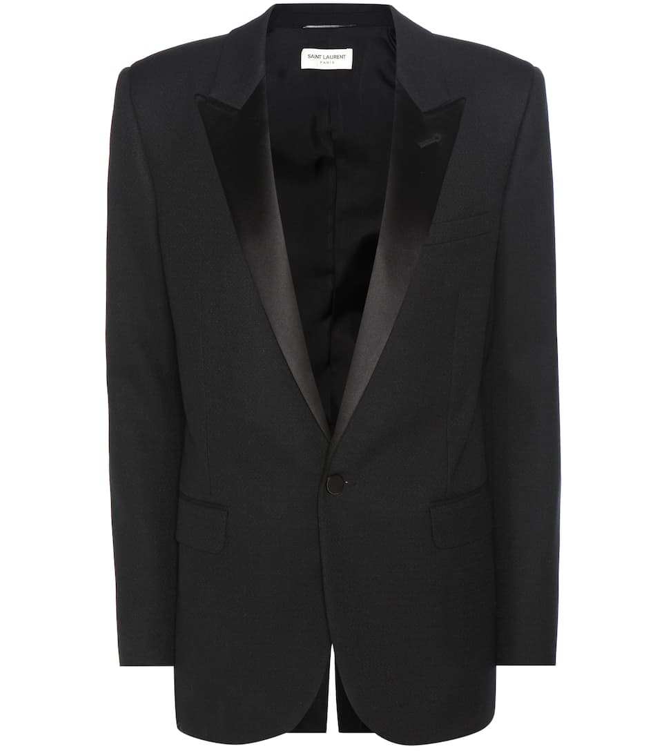 Saint Laurent Blazer Le Smoking aus Grain de Poudre mit Satinbesatz