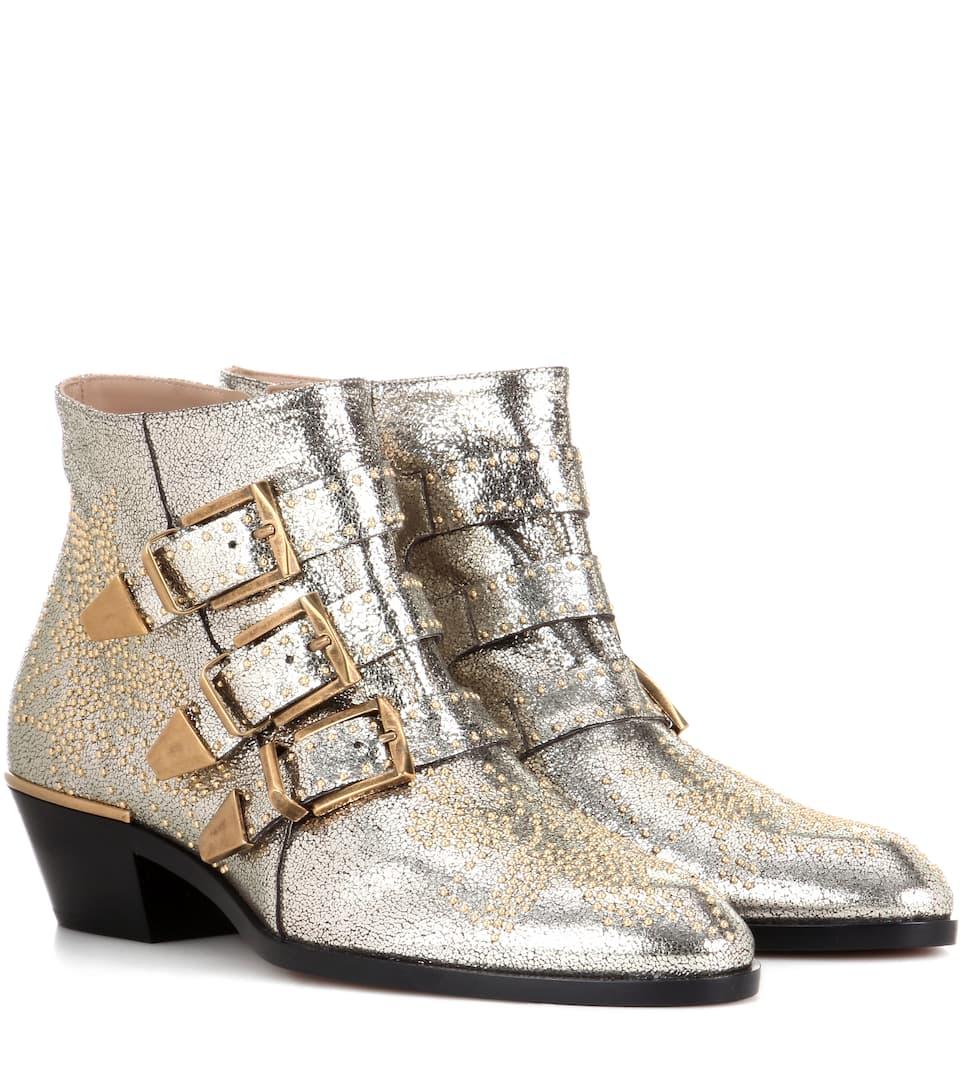 367875cbac41 Chloé - Ankle Boots Susanna aus Metallic-Leder