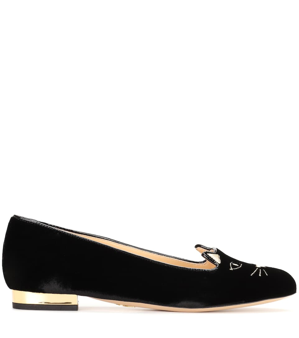 Charlotte Olympia Samt-Slippers Kitty
