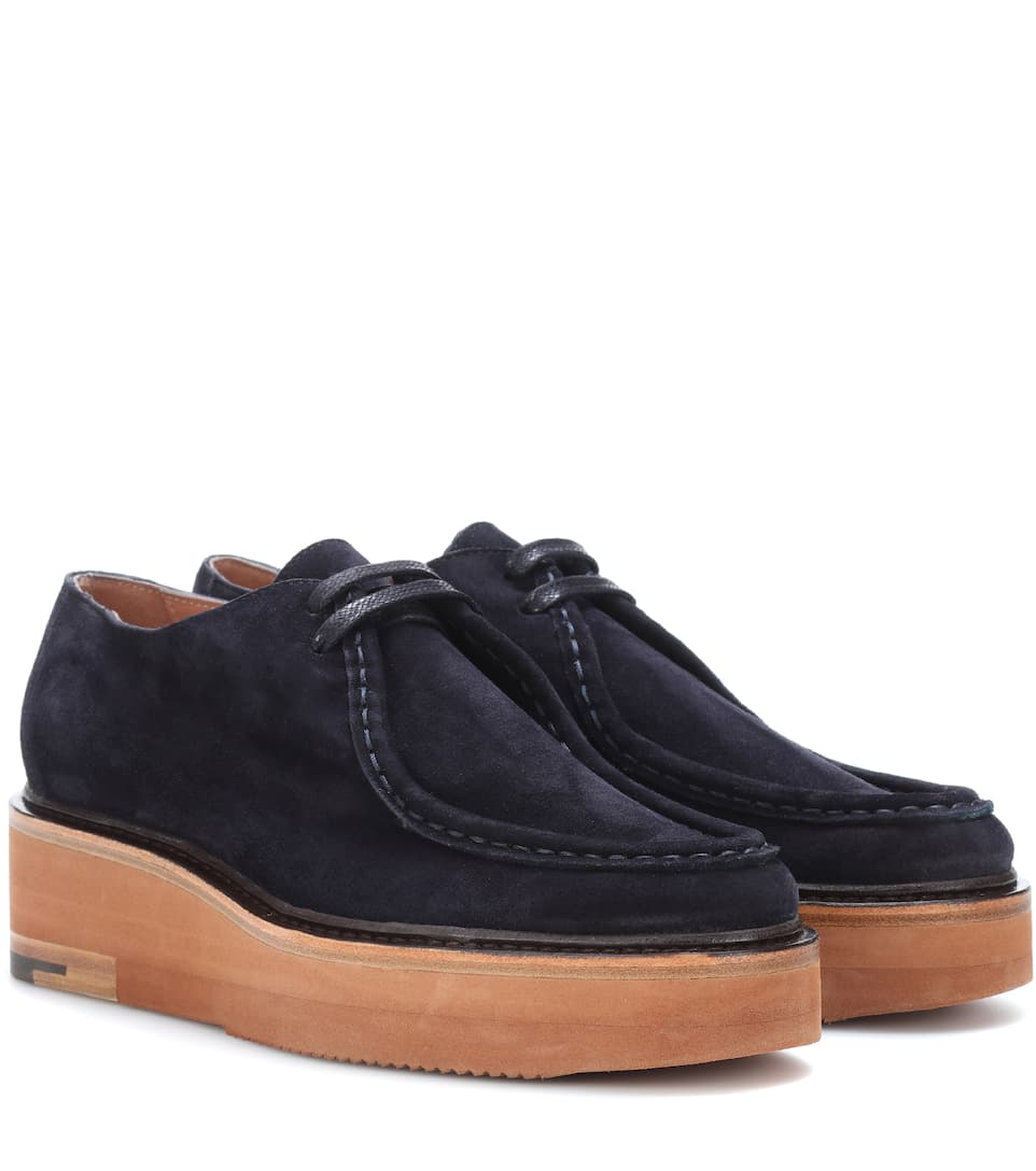 Suede platform loafers