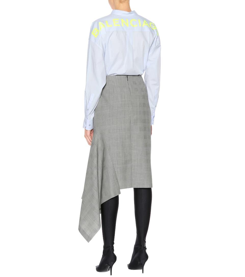 Plaid falda Balenciaga blanco lana negro virgen de g0wwxp