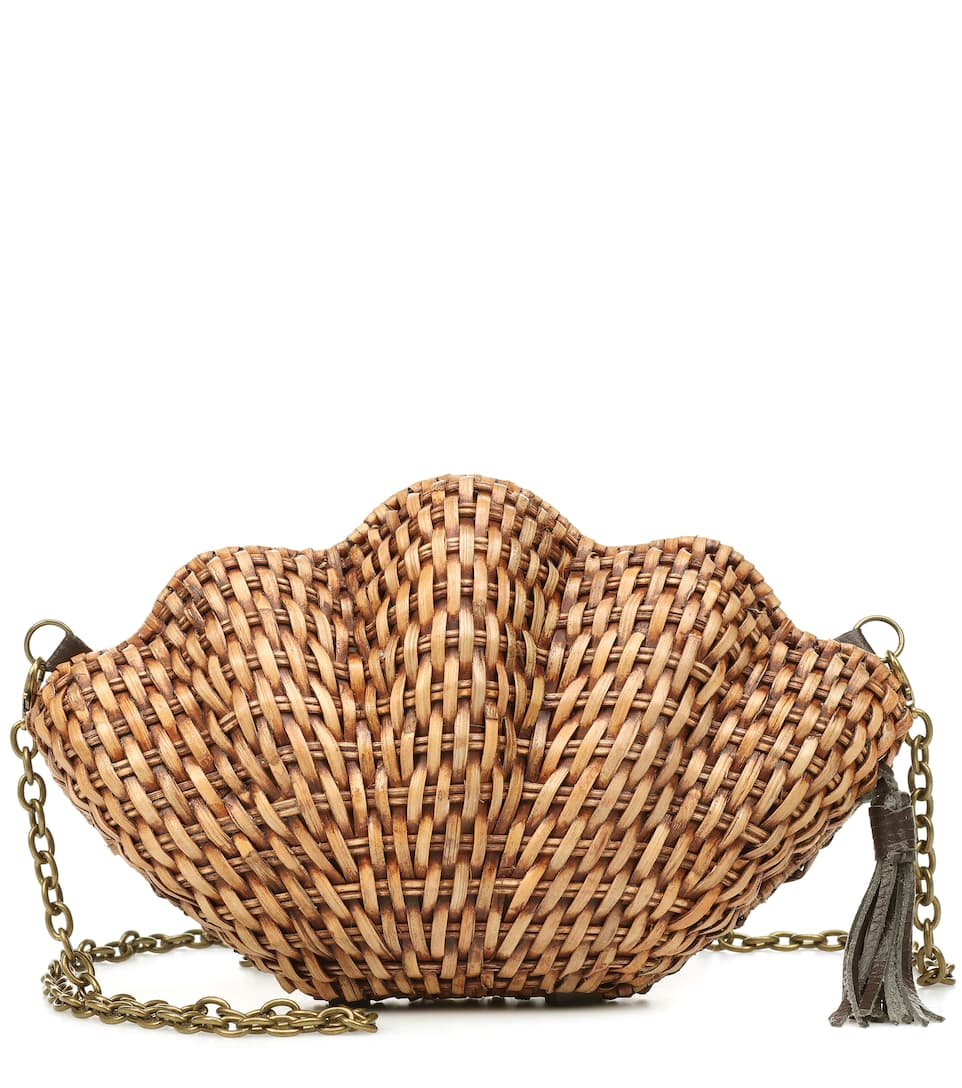 Jane Wicker Shell Clutch by Kayu