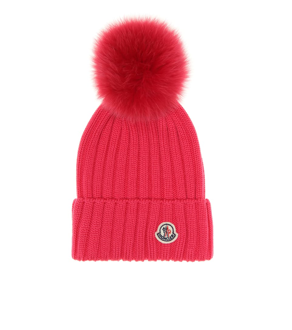 Moncler - Fur-trimmed wool beanie