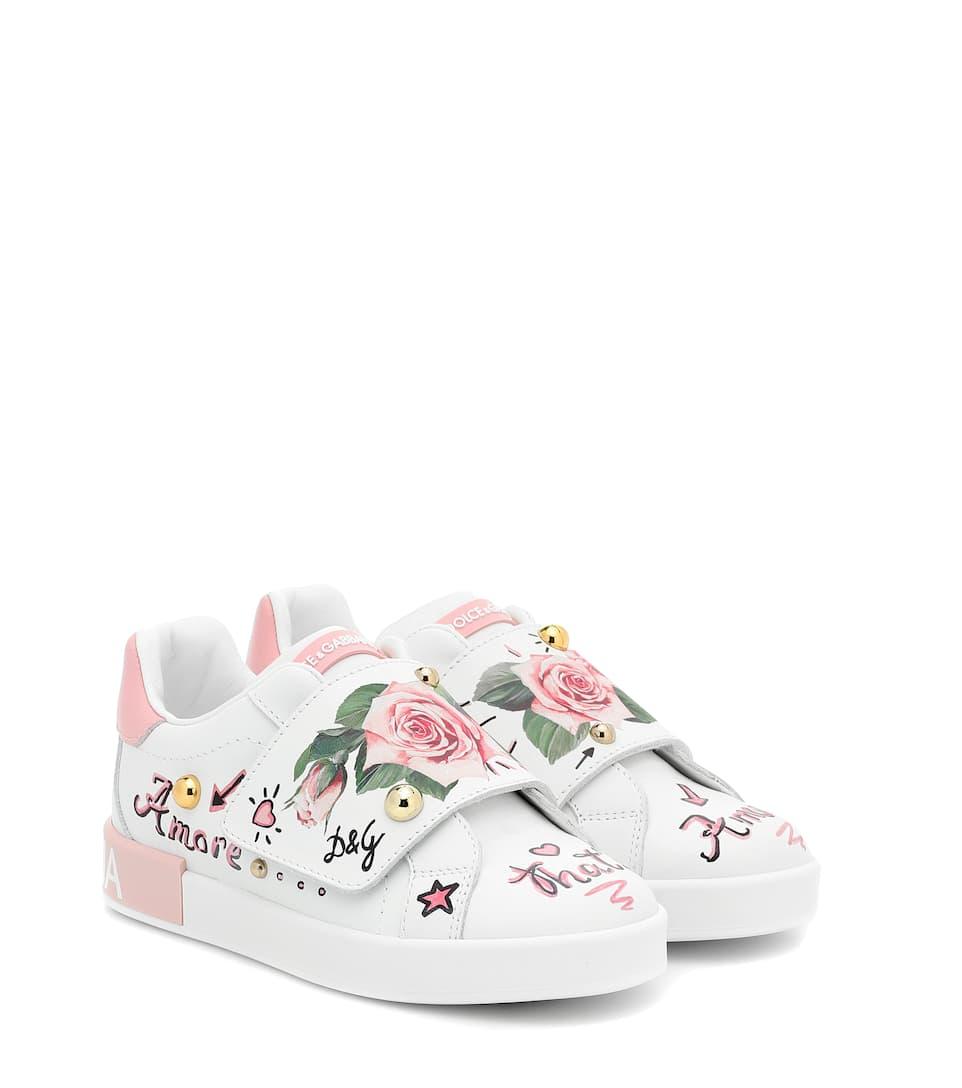 Portofino Floral Leather Sneakers