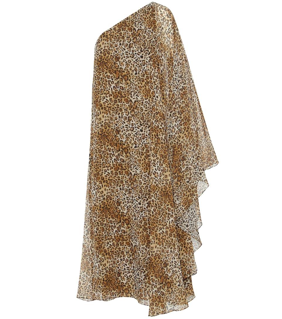 Saint Laurent One-shoulder printed silk dress