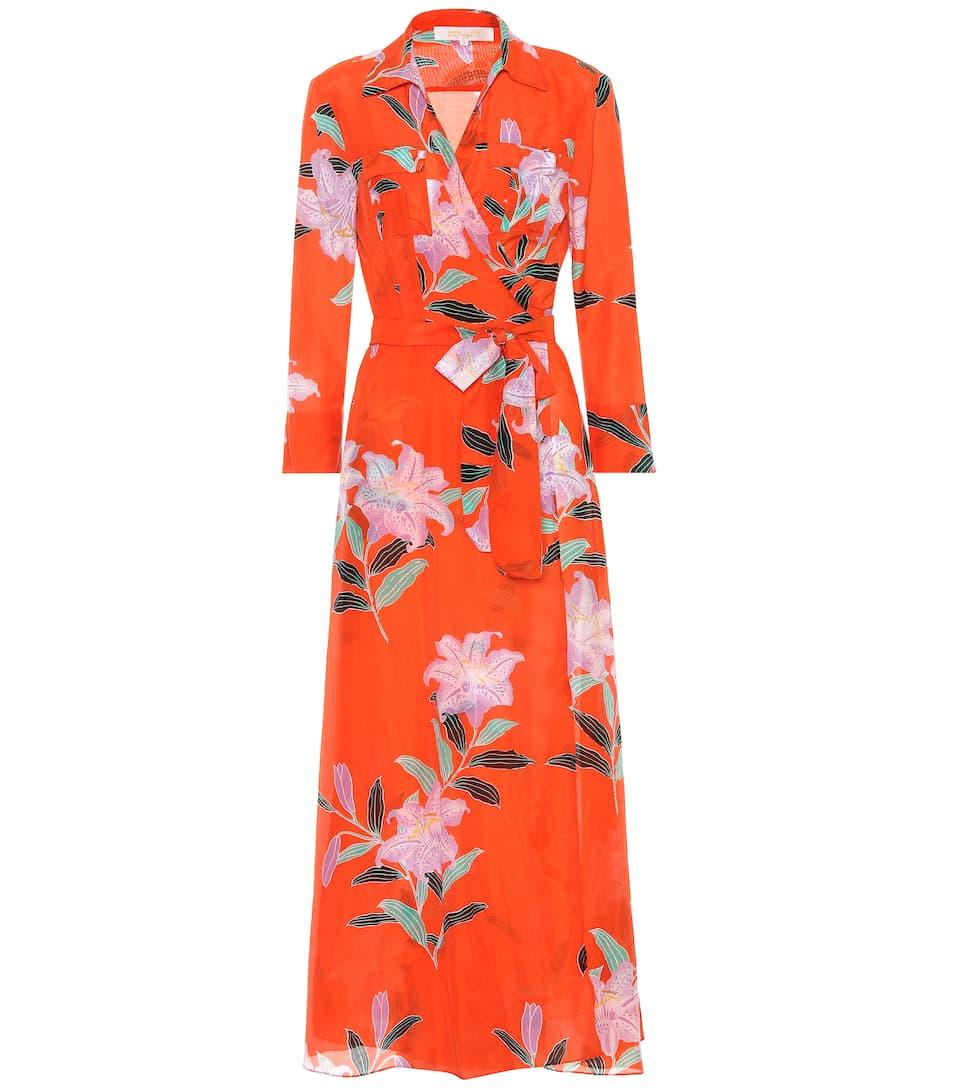 Floral-print cotton and silk-blend wrap dress Diane Von F Cheap Best Big Sale Online Free Shipping Lowest Price 2018 Online Cheap Price Outlet sELnXbz6P4