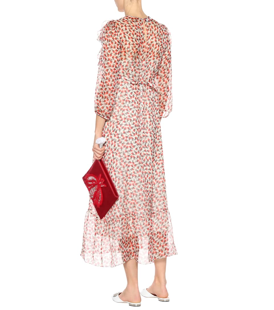 With Credit Card Online Best Sale Rochas Printed silk midi dress Red Blossom Outlet Big Discount RROI0Zo