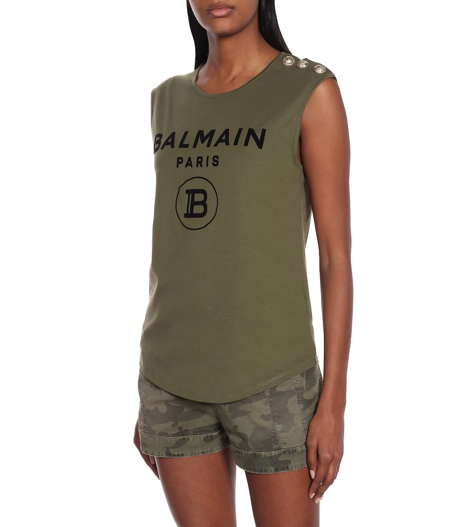 Balmain - Camo stretch-cotton twill shorts