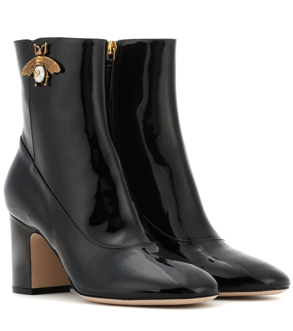 6b7df528d54 Patent Leather Ankle Boots - Gucci