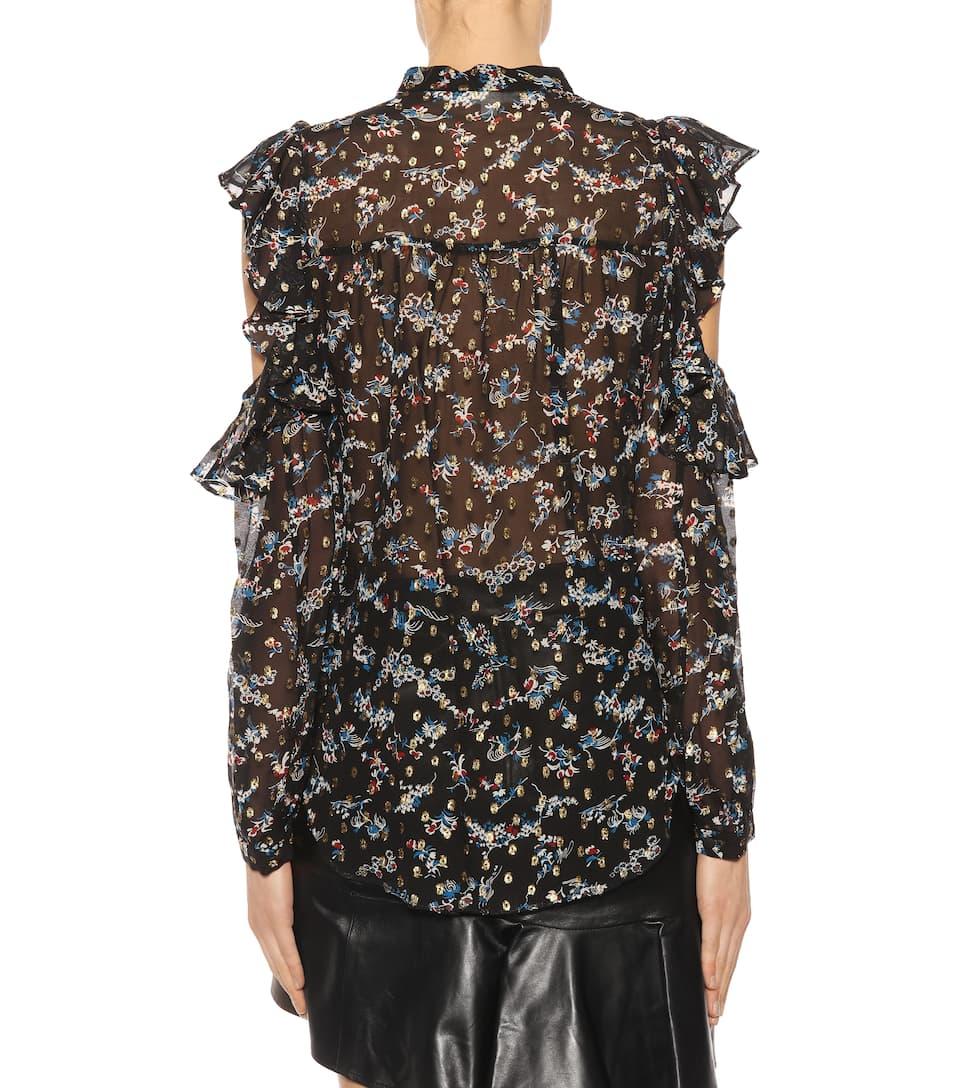 Veronica Beard Bedruckte Bluse Cora aus Seide mit Cut-outs