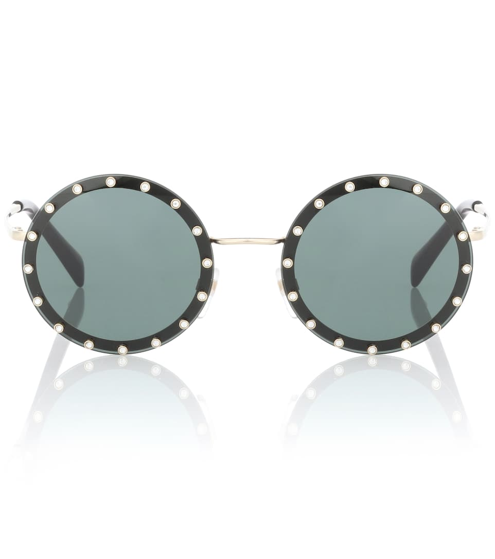 ee8b242a99 Crystal-Embellished Round Sunglasses - Valentino
