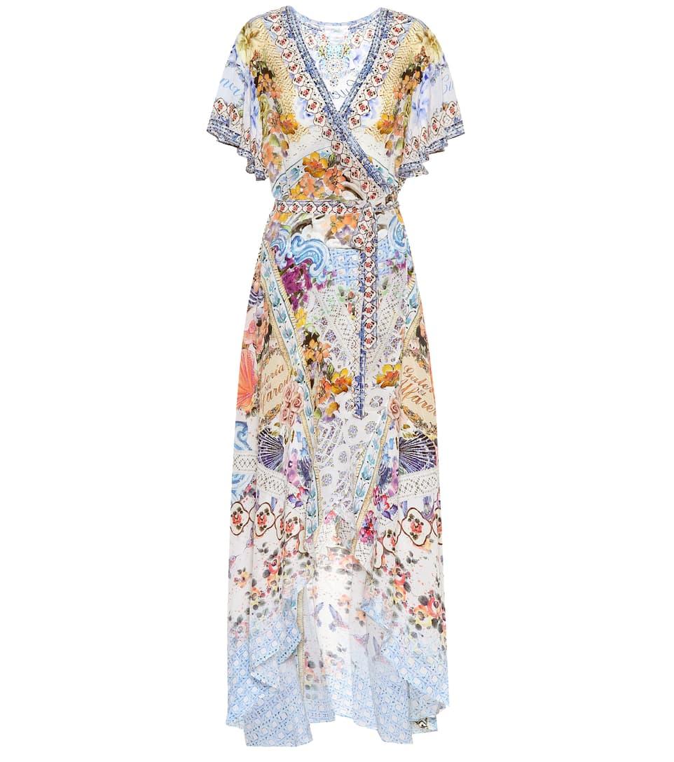 Camilla - Robe portefeuille en soie imprimée