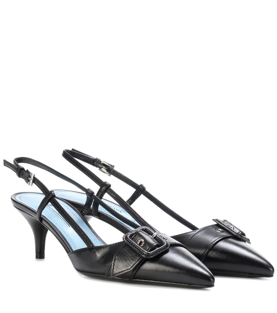 6e5e60c4946f PRADA Leather Slingback Pumps