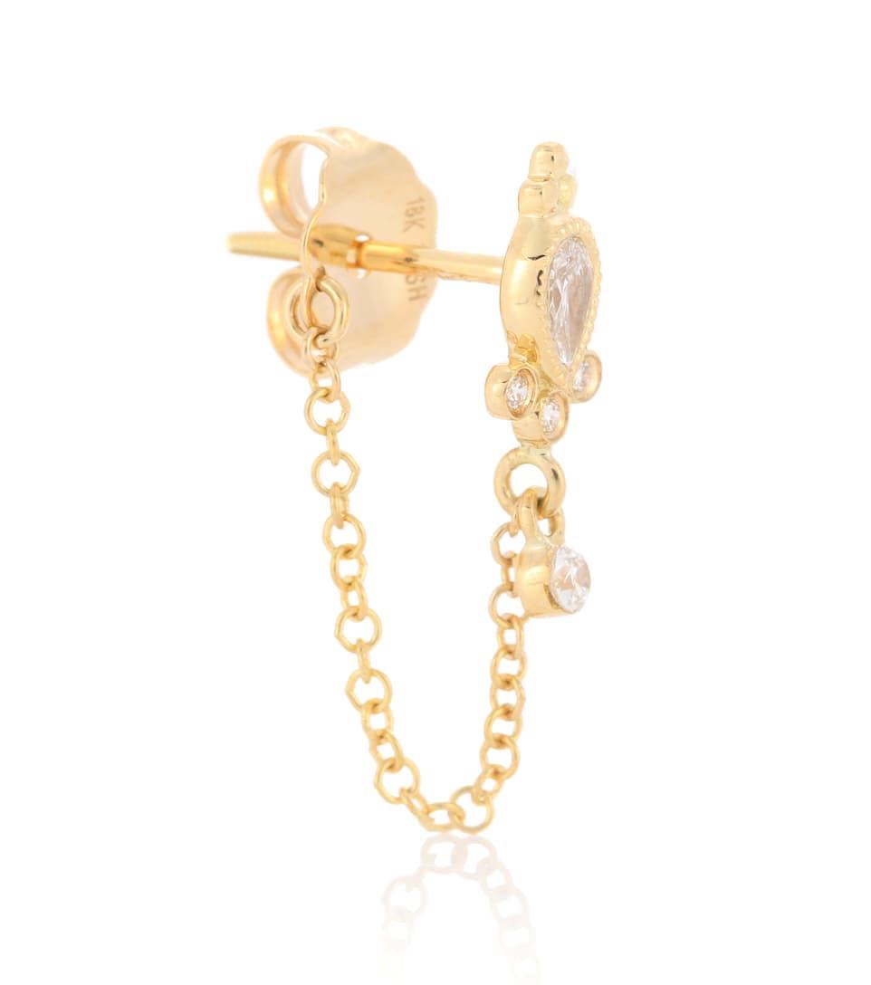 Maria Tash Diamond Delia and Dangle 1 Chain Wrap 18kt gold and diamond earring O1Htf
