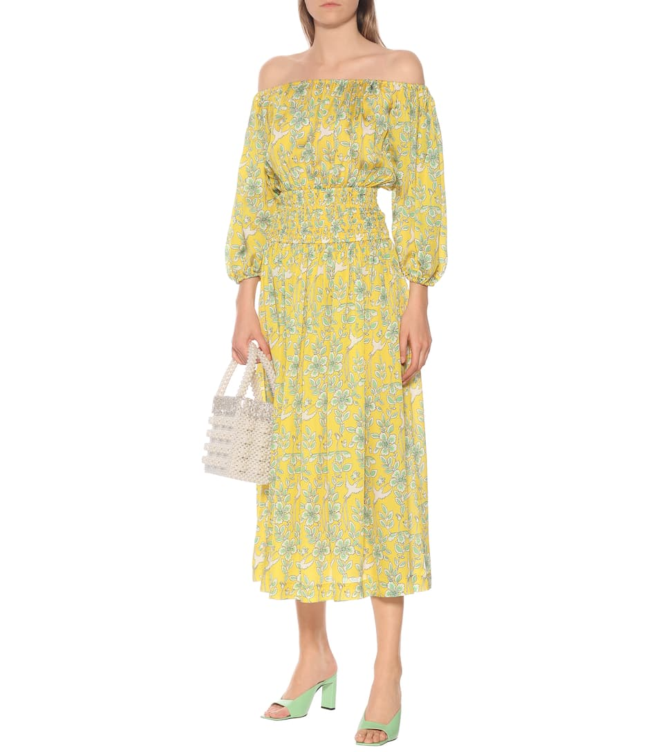 RHODE - Florence floral off-shoulder midi dress