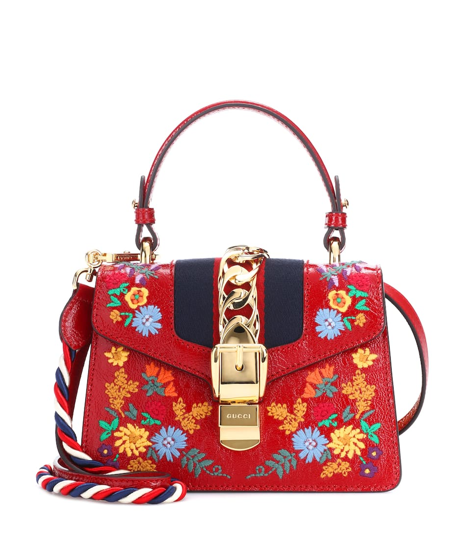 MINI SYLVIE FLOWER EMBROIDERY LEATHER SHOULDER BAG - RED