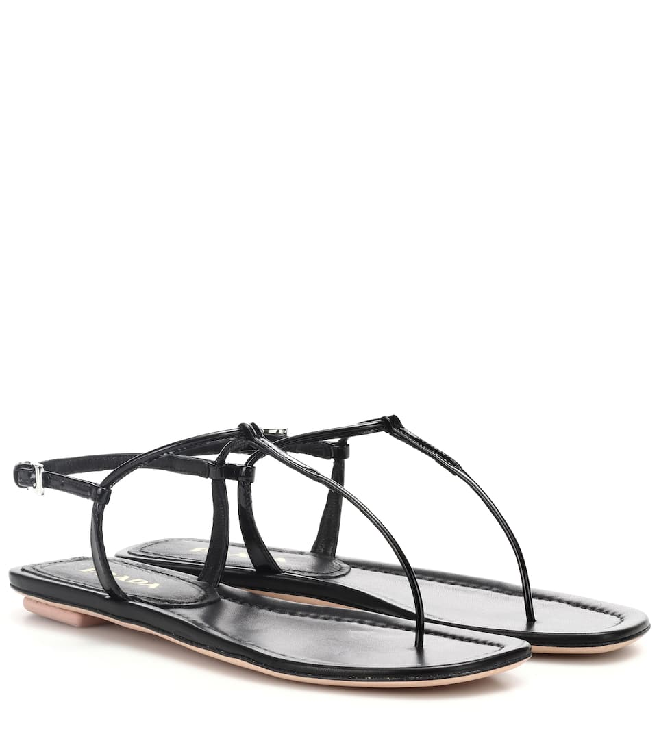 fc608e35f Prada Flat Patent Leather Thong Sandals