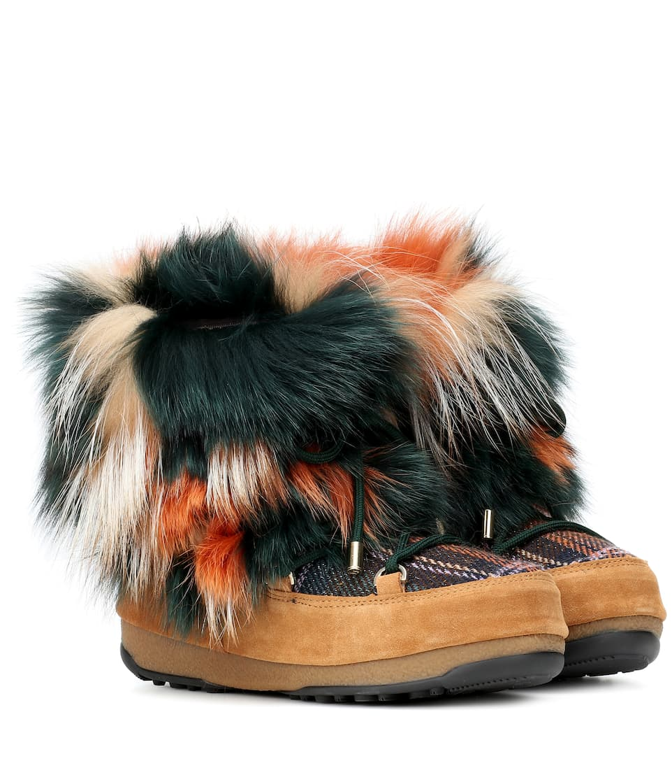 X Fourrure Et En Bottines Tweed Moon Boot® – 1JFlKcT