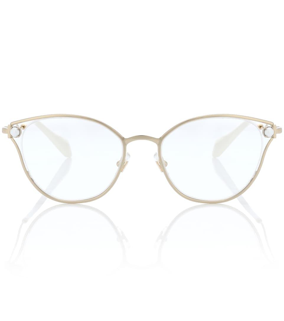de adornadas imitación ojo de con gato de perlas Eyewear Miu Gafas Iq6wRR