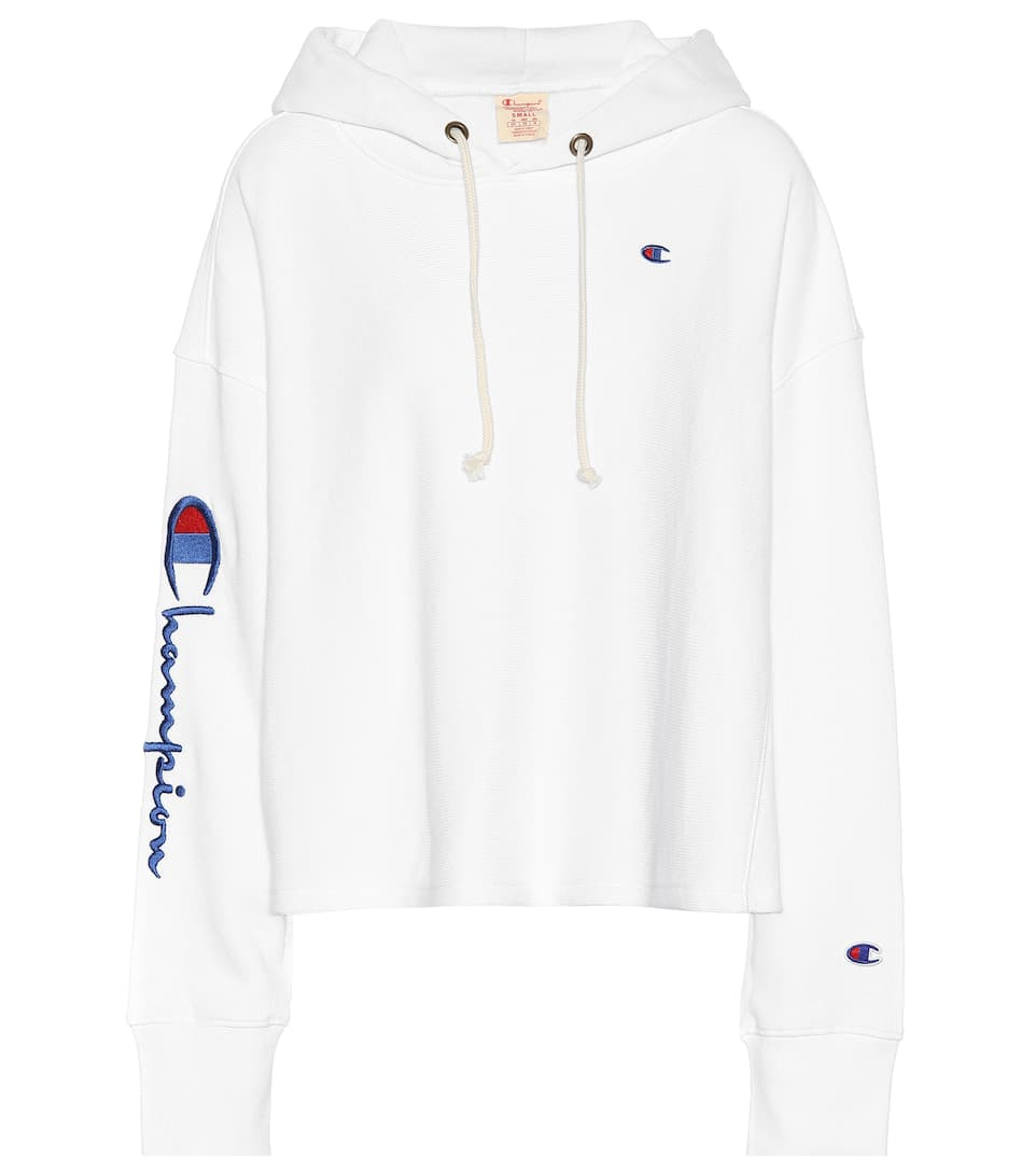 Cropped Cotton Blend Hoodie by Champion