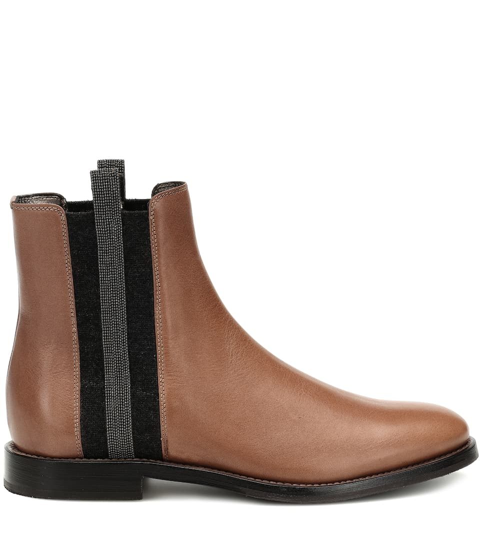 Ornements Cucinelli En Cuir À Brunello Bottines Chelsea Pkn0wO