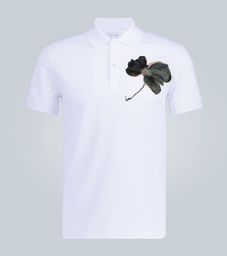 Alexander Mcqueen Cottons FLORAL EMBROIDERED POLO SHIRT