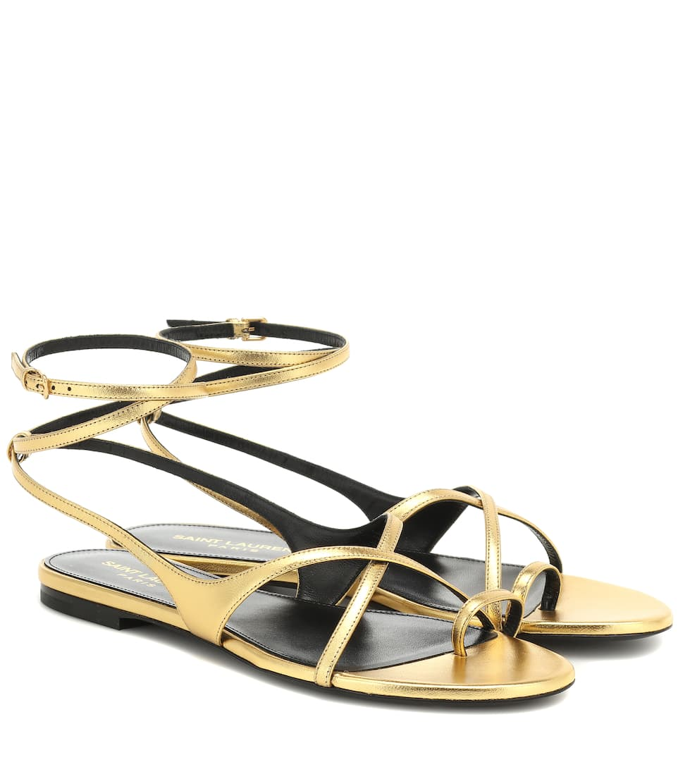 ba17136f8c8 Saint Laurent - Gia metallic leather sandals | Mytheresa