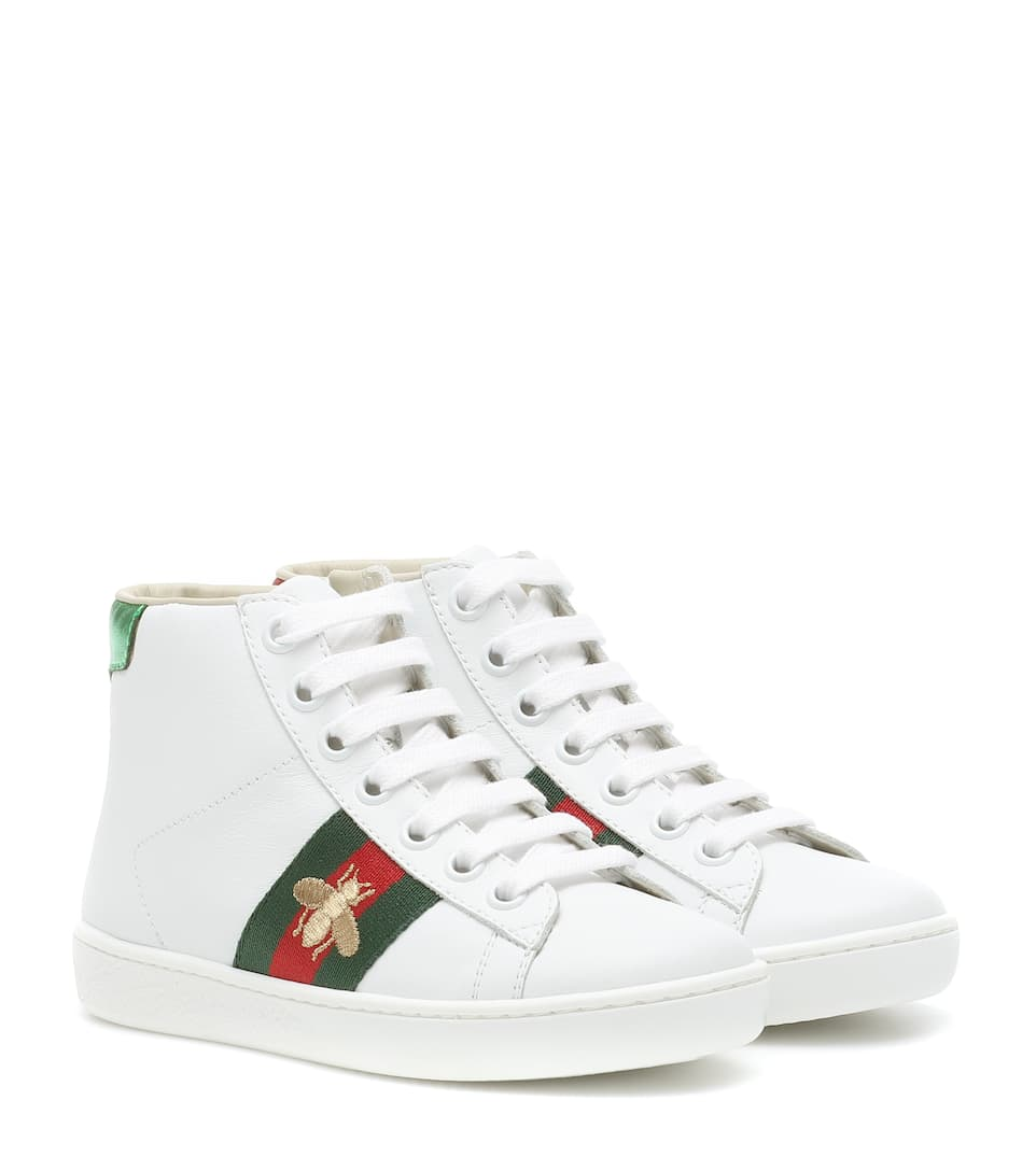 8aef4e276 Gucci Kids - Ace leather high-top sneakers | Mytheresa