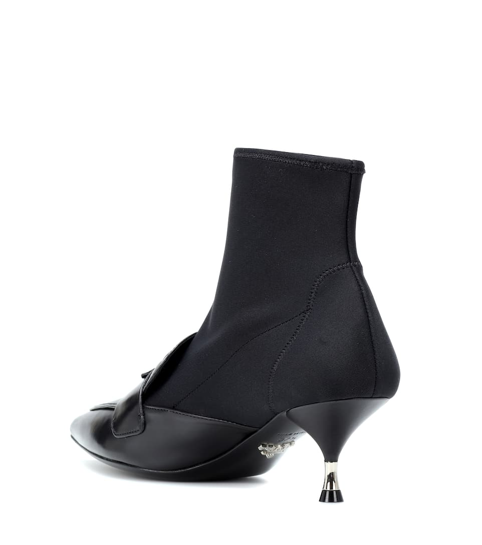 Prada en Mytheresa toile cuir Bottines stretch et vxWP01qrvw