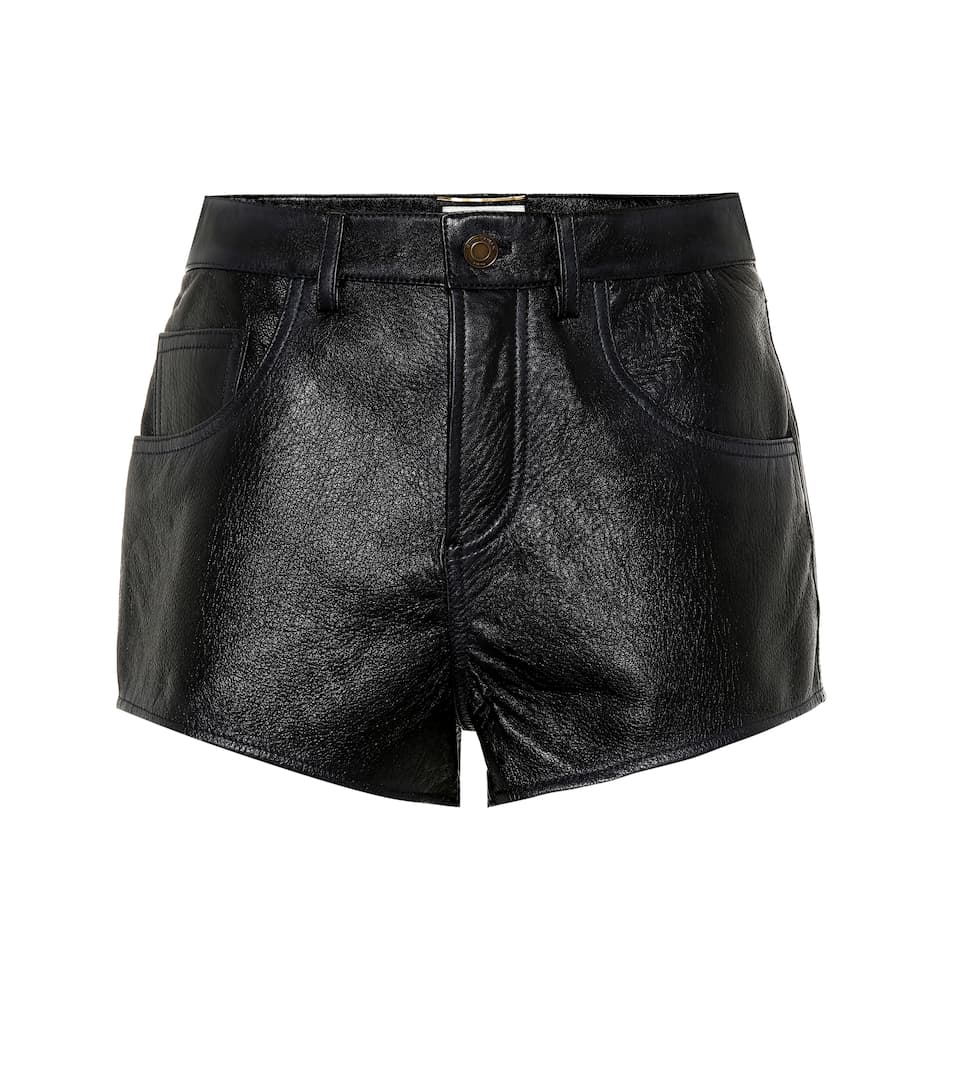 High Rise Leather Shorts by Saint Laurent