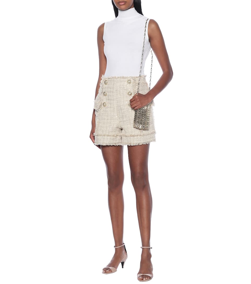 Balmain - Tweed high-rise shorts