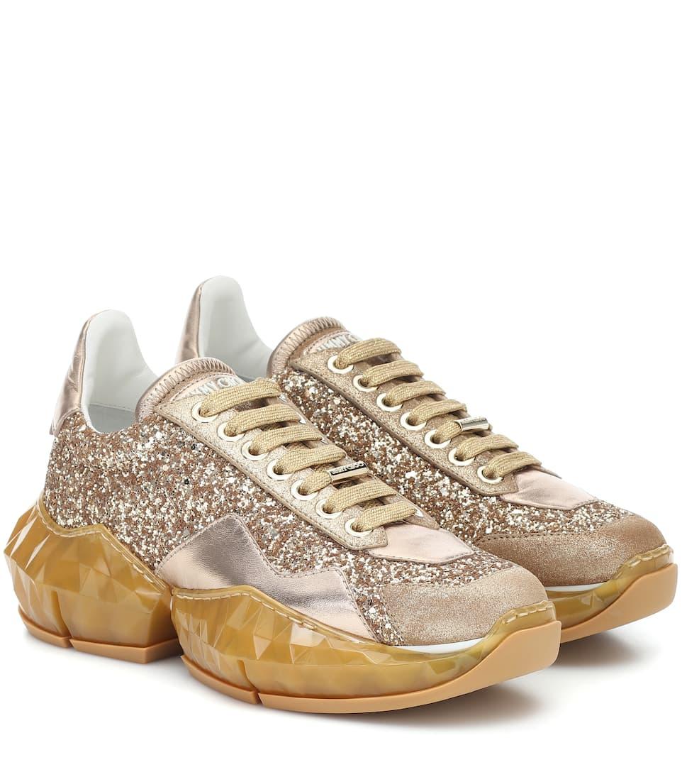 Diamond Glitter Leather Sneakers