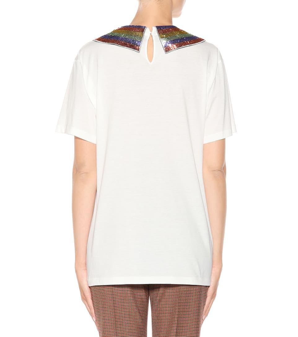 Gucci Verziertes Baumwoll-T-Shirt Billig Original GYec2Uy