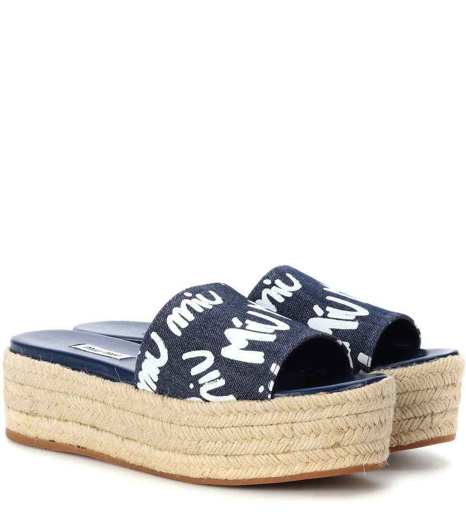 Miu Miu Plateau Sandals Made Of Denim