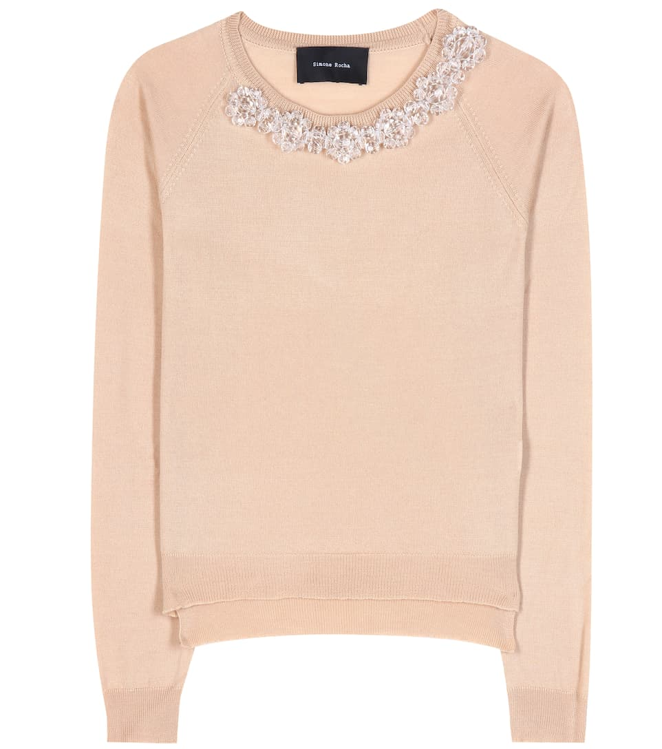 Simone Rocha Embellished wool, silk and cashmere sweater